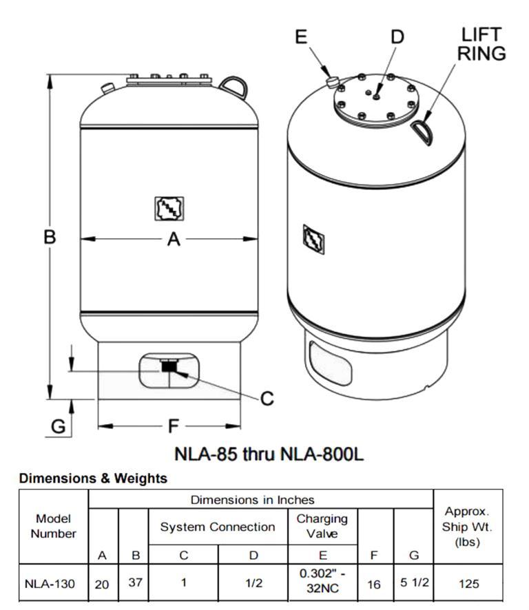 Tank 35 gallon vertical tank, CS, 125 PSI at 240 degrees F internal, dish Bottom, Hydronic Expansion Tank5