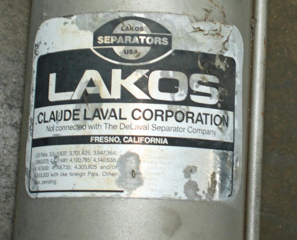 Miscellaneous Equipment Lakos Separator model ILS-0300 316SS Maximum Pressure: 150 psi (10.3 bar), 3 inlet, Stainless Steel3