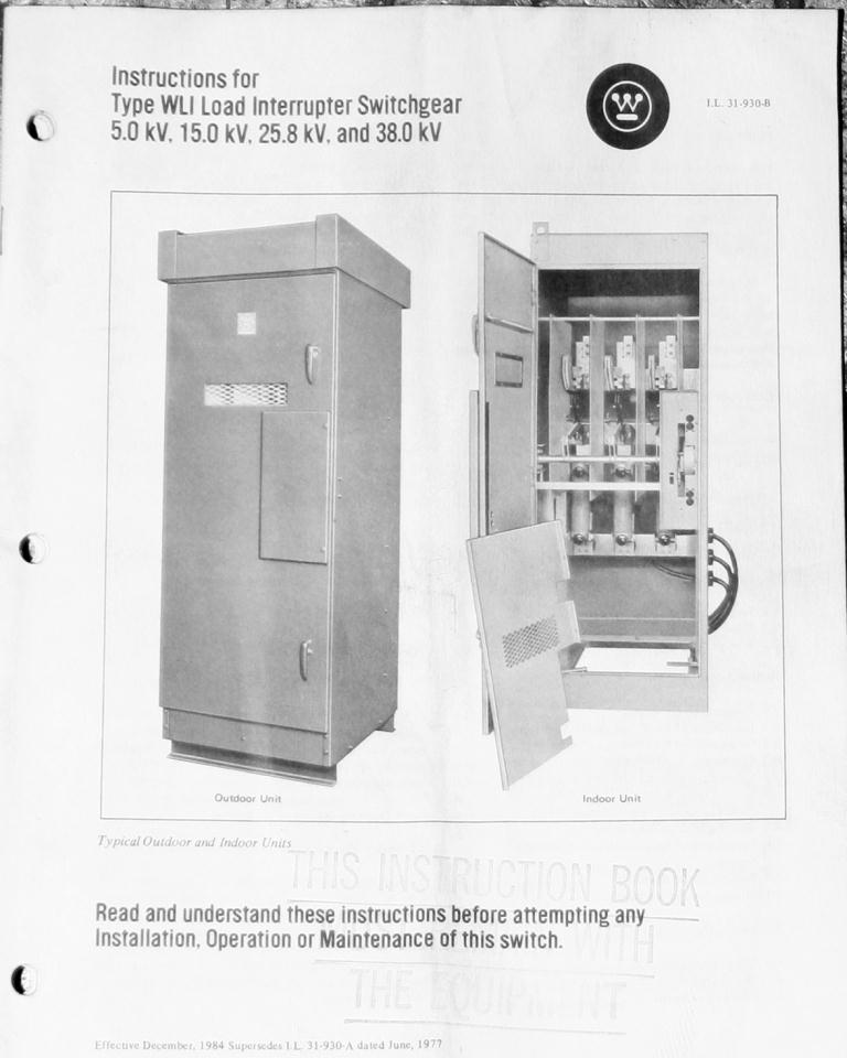 Transformers and Switchgear Westinghouse switchgear model WLI Load Interrupter Switchgear 5.0 kV volts, 600 amps4