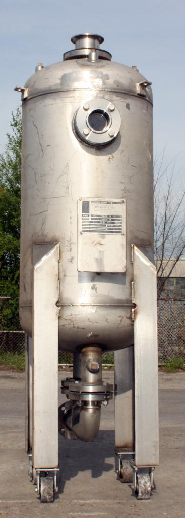 Tank 80 gallon vertical tank, Stainless Steel, MAWP 125 PSIG @ 300 °F internal, dish Bottom, surge tank