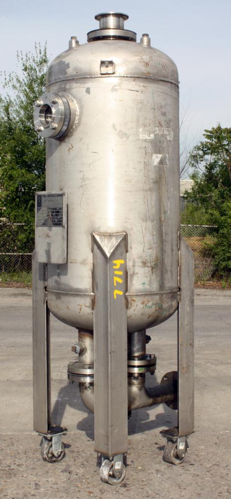 Tank 80 gallon vertical tank, Stainless Steel, MAWP 125 PSIG @ 300 °F internal, dish bottom, surge tank2