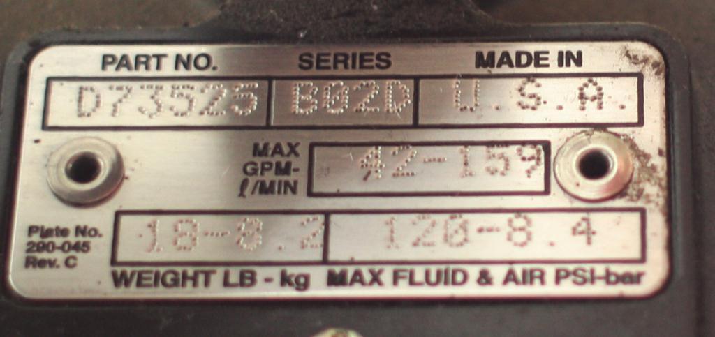 Pump 1 Graco Husky diaphragm pump, Aluminum4