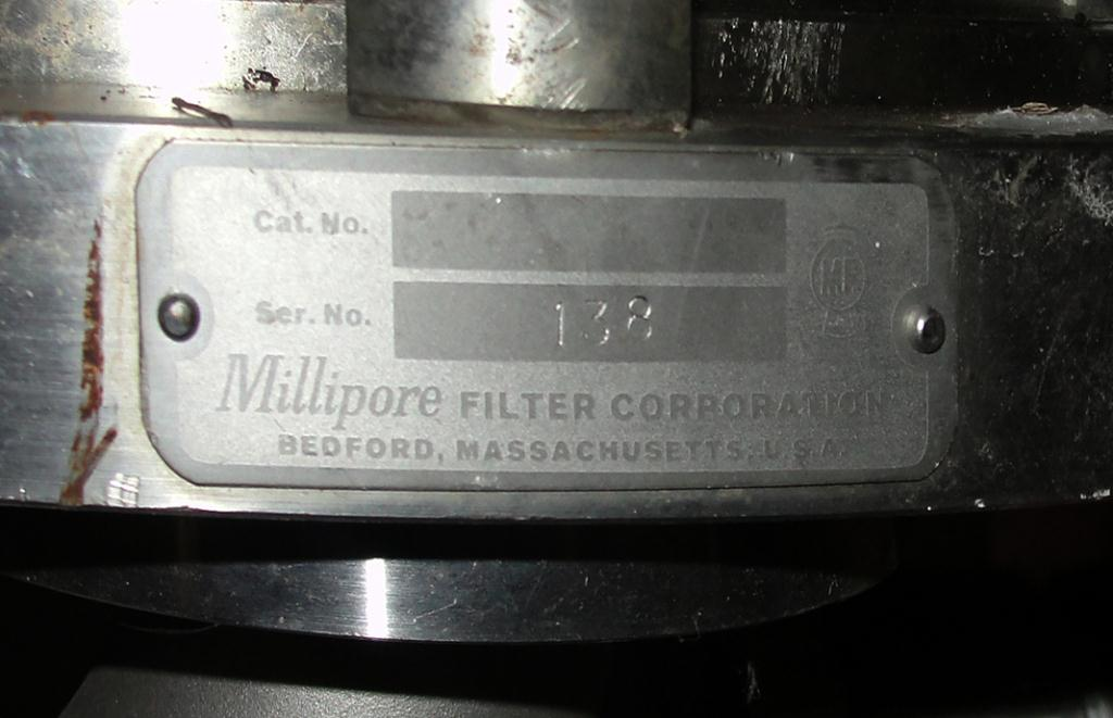 Filtration Equipment 16 sq.ft. total screen area Millipore horizontal plate filter 0.18 cu.ft. capacity, Stainless Steel5