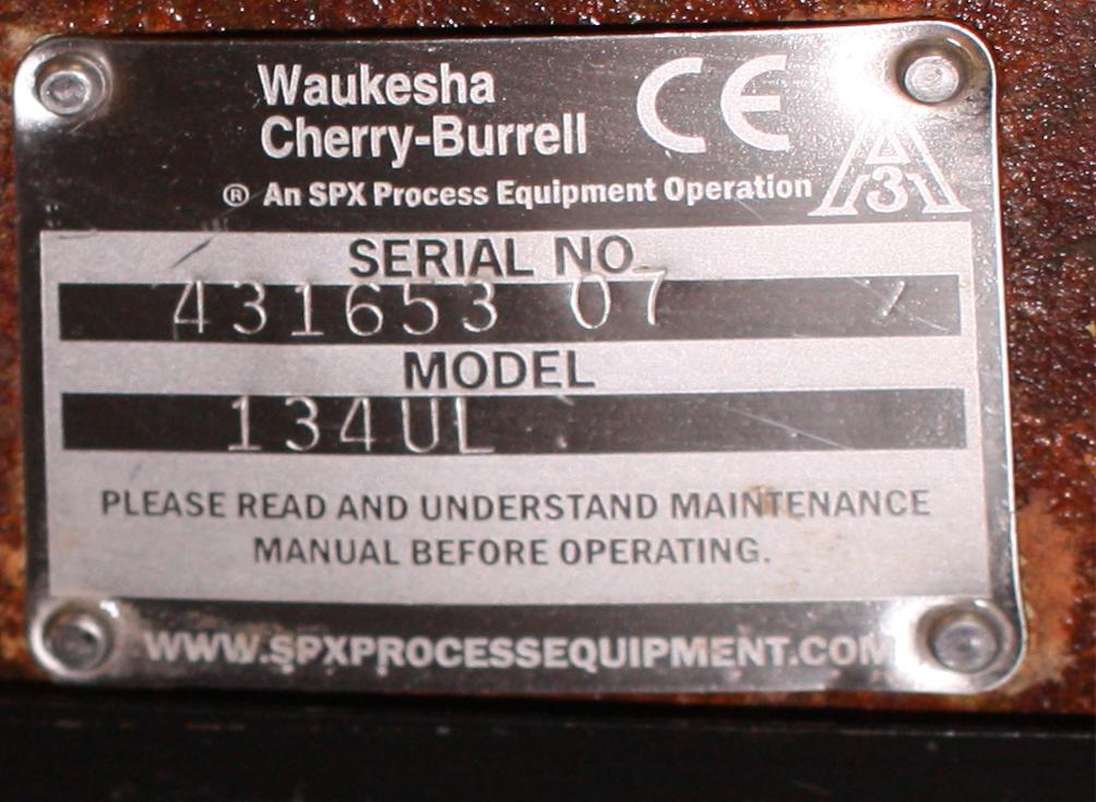Pump 9 x 3.5 rectangle inlet Waukesha Cherry-Burrell positive displacement pump model 134 UL, 5 hp, Stainless Steel5