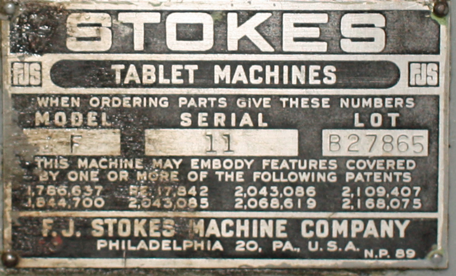 Press Stokes tablet press model F, 1 stations, 4 ton, 3/4 dia. x 11/16 dep. tablet size3