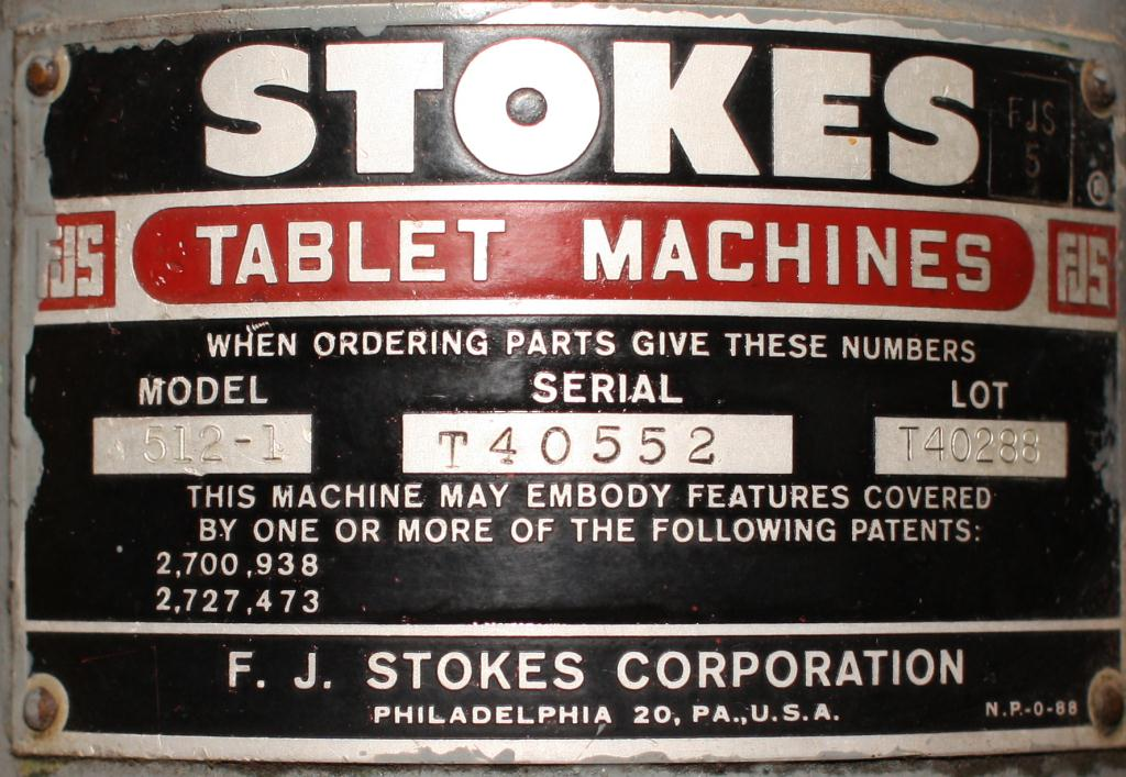 Press Stokes tablet press model 512-1, 16 stations, 4 ton, up to 5/8 dia. X 11/16 deep. tablet size2