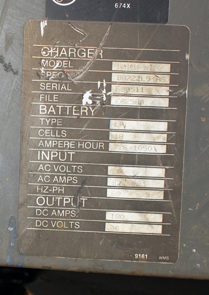 Miscellaneous Equipment battery charger, 36 volts MAC 180 amps2