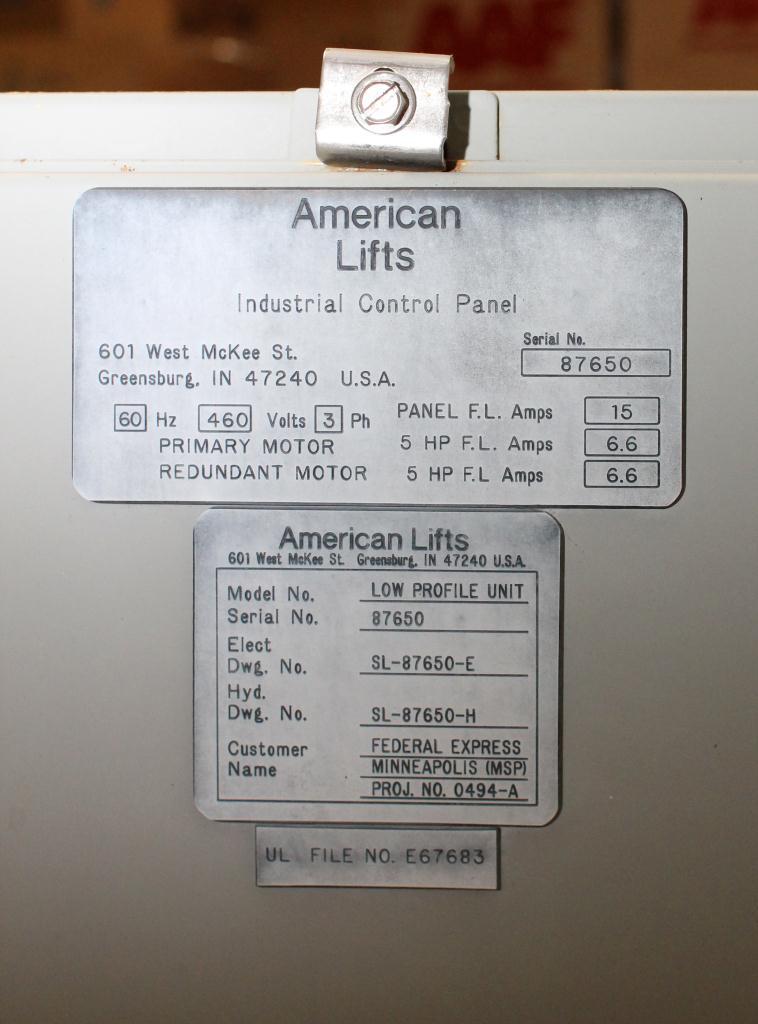 Pump 10 hp American Lifts hydraulic power unit, model Low Profil Unit, 35 gal(US) reservoir tank, 2000 psi2