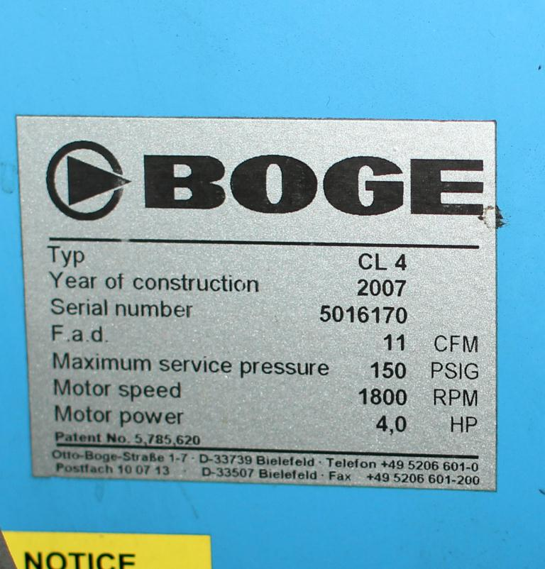 Compressor 4 hp BOGE air compressor model CL 4, 11 cfm2