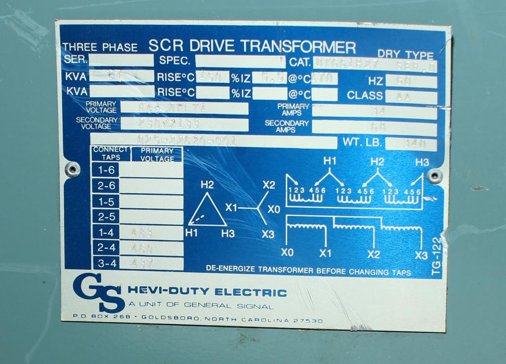 Transformers and Switchgear 27 kva GS Hevi-Duty Electric dry transformer, 460 delta high voltage, 230Y/133 low voltage, 3 phase3