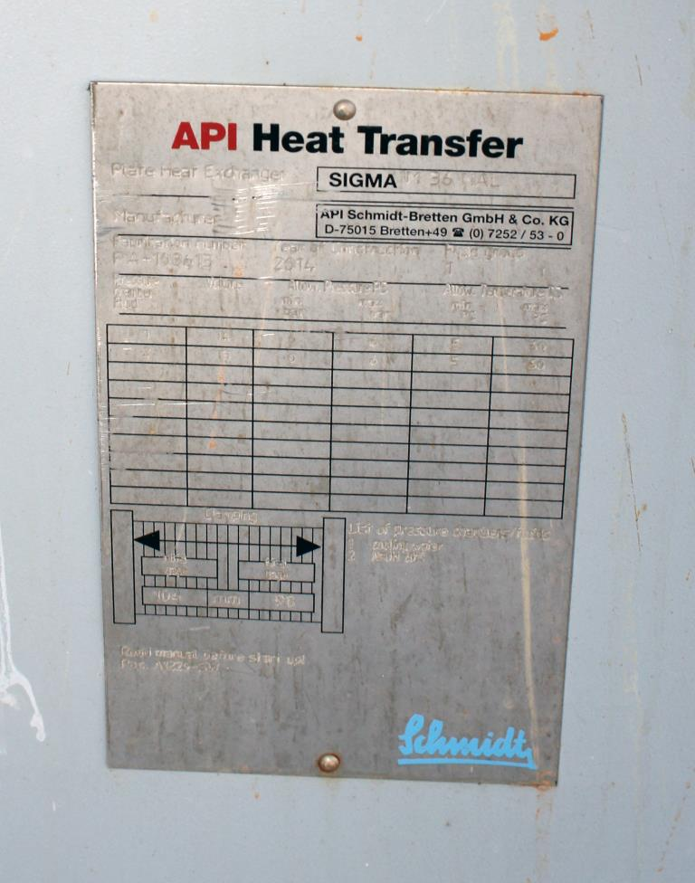 Heat Exchanger 84 sq.ft. API Schmidt plate heat exchanger, Stainless Steel Contact Parts2