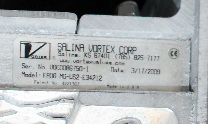 Valve 6 Salina Vortex Corp. gate valve, Pneumatic, Stainless Steel Contact Parts3