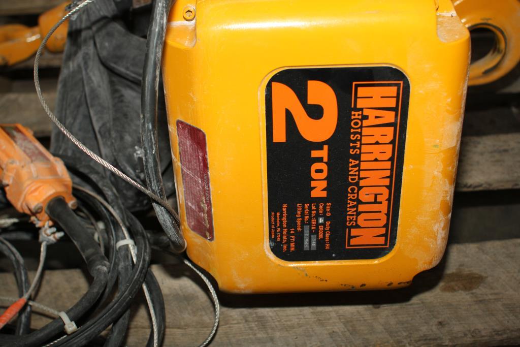 Material Handling Equipment chain hoist, 4000 lbs. Harrington Hoists and Cranes model ER 020L  ERA 1A-3402
