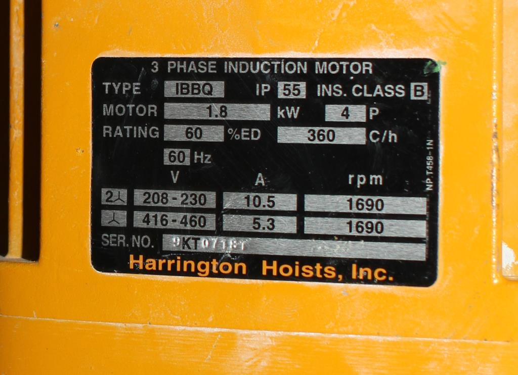 Material Handling Equipment chain hoist, 4000 lbs. Harrington Hoists and Cranes model ER 020L  ERA 1A-3404