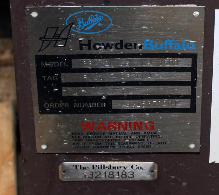 Blower centrifugal fan Howden Buffalo model 33 Volume CW-360D, 5 hp, Cast Iron4