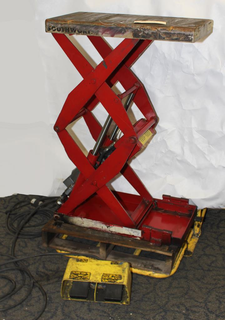 Material Handling Equipment scissor lift table, 500 lbs. Southworth model  Appears to be a model LS05-30, 12 x 24 platform2