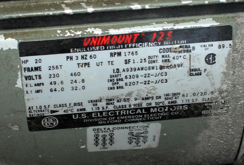 Blower up to 4752 cfm centrifugal fan Twin City Fan & Blower model Size 911, 20 hp, CS4