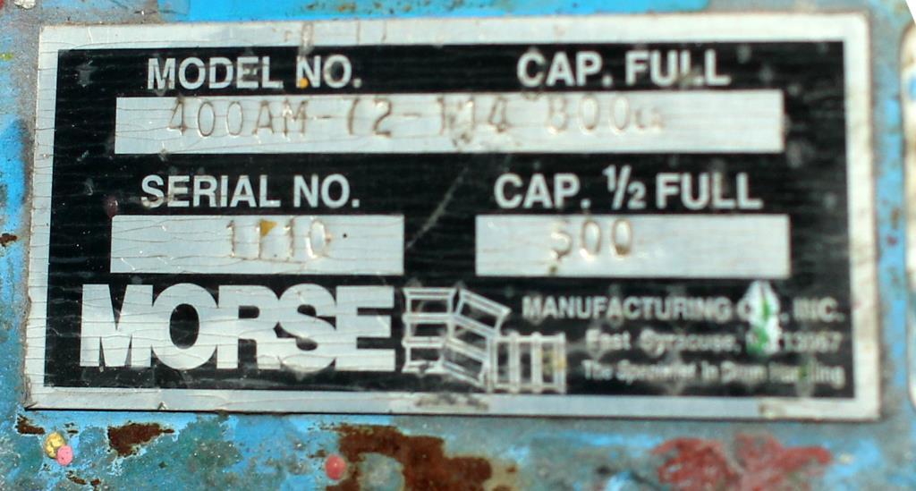 Material Handling Equipment drum dumper, 800 lbs. Morse model 400AM-72-114, 724