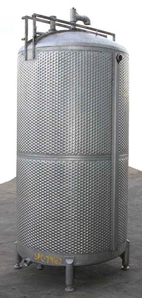 Tank 650 gallon vertical tank, Stainless Steel, unrated dimple jacket jacket, dish Bottom5