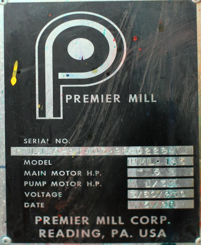 Mill Premier horizontal media mill model ML 1.5, 1.5 liter, Stainless Steel Contact Parts9