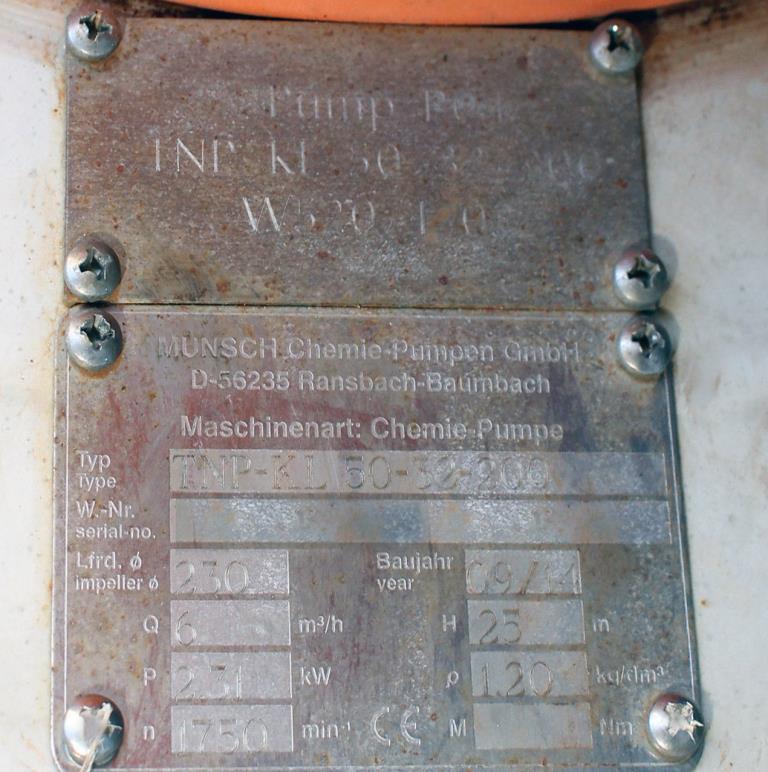 Pump 50x32x230 mm Munsch Chemie-Pumpen vertical centrifugal pump model TNP-KL 50 32-200, Polypropylene2