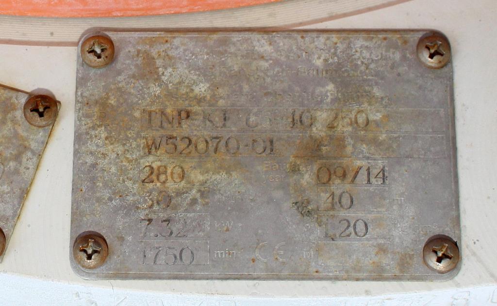 Pump 65x40x280 mm Munsch Chemie-Pumpen vertical centrifugal pump model TNP-KL 65 40-250, Polypropylene2