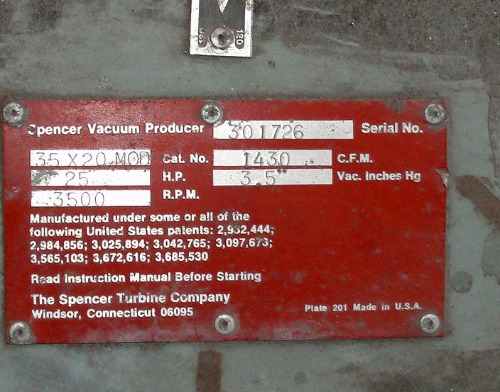 Blower 1430 cfm centrifugal fan Spencer Vaccum Producer model 35 X 20 Cat No., 25 hp, CS4