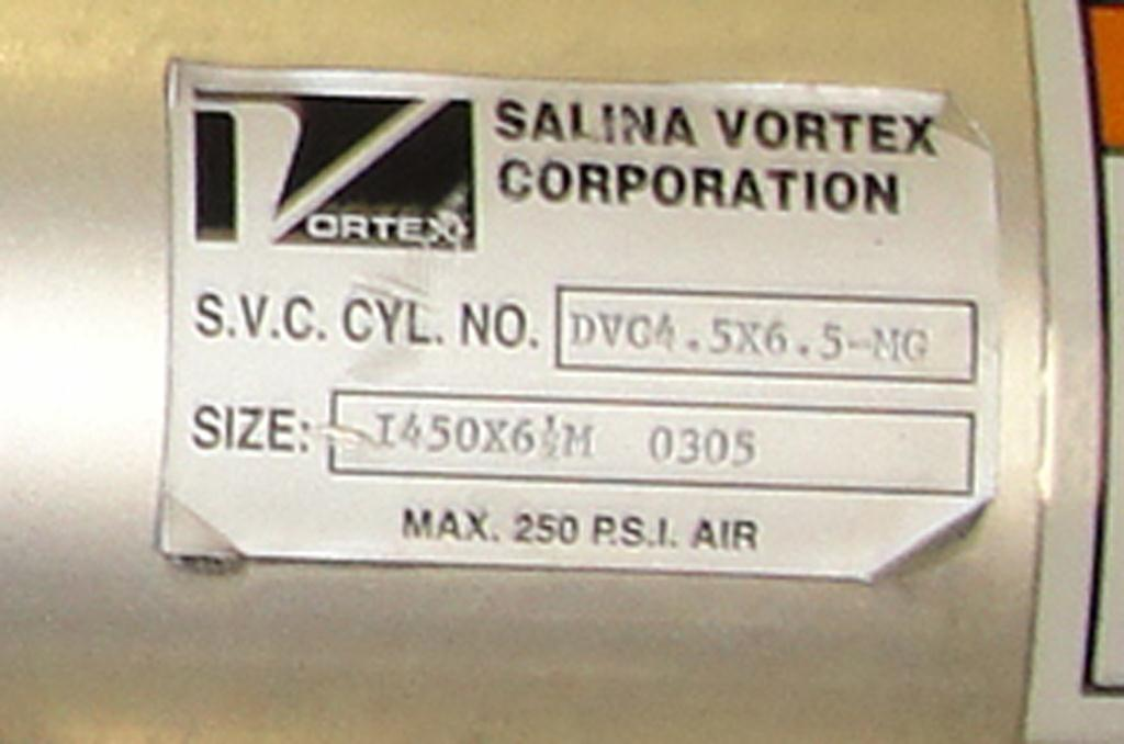 Valve I450X 6 ½ Salina Vortex Corp gate valve, pneumatic, Stainless Steel Contact Parts4