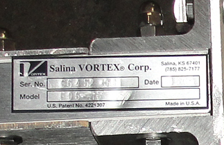 Valve 450X 6 ½ 0603 Salina Vortex Corp gate valve, pneumatic, Stainless Steel Contact Parts3
