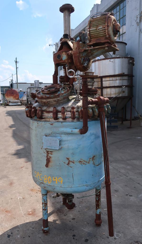 Reactor 125 gallon Pfaudler chemical reactor, 55 psi internal, 80 psi jacket,  agitator2
