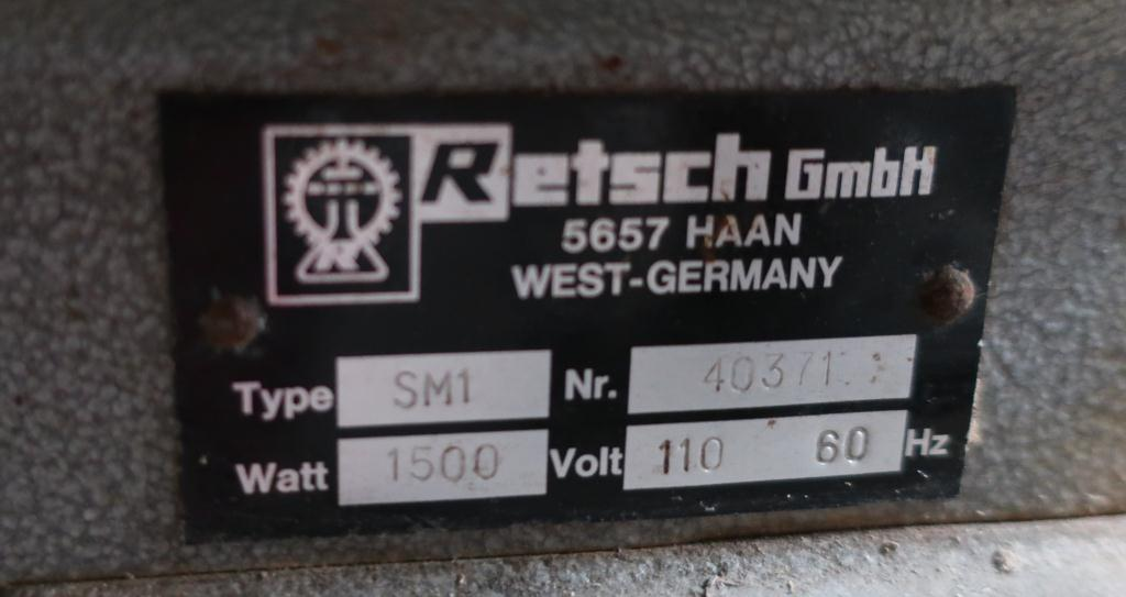 Mill Restch GmbH knife mill model SM1, CS, 2 hp, 3 1/4 x 3 1/4 throat size5
