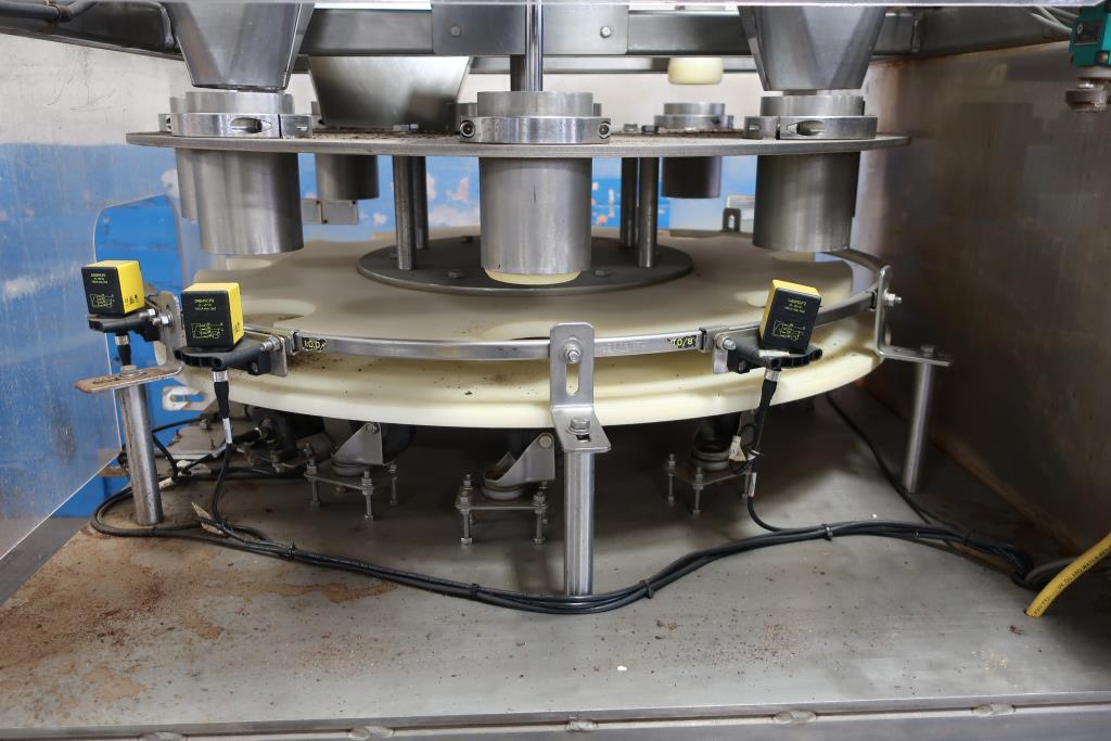 Filler 4 Tamp Cylinders filling tubes Mac Manufacturing volumetric filler model SSRF 101, 5000 RPM max6