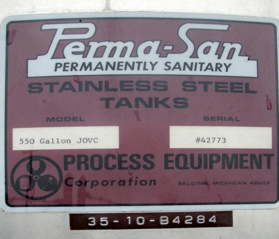 Tank 550 gallon vertical tank, Stainless Steel, bottom only jacket, dish Bottom3