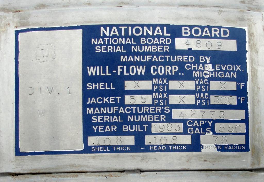 Tank 550 gallon vertical tank, Stainless Steel, bottom only jacket, dish Bottom4
