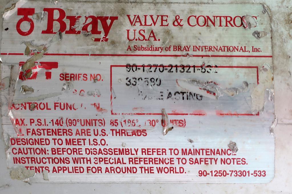 Valve 12 Bray butterfly valve model 90-1270-21321-532, CS, Pneumatic operator2