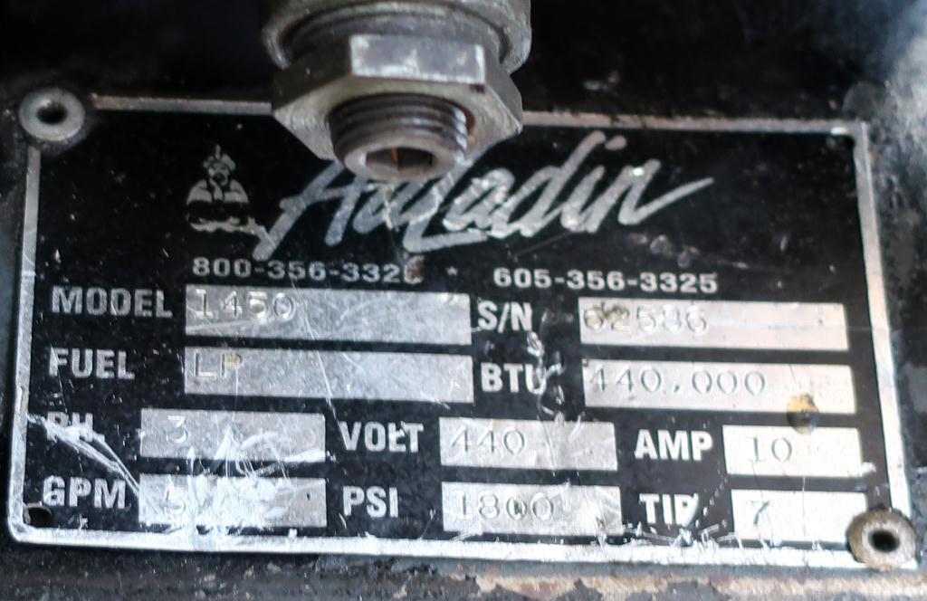 Miscellaneous Equipment Aaladin model 1450 pressure washer, 6 hp, 1800 psi, 5 gpm, 440,000 b.t.u.2