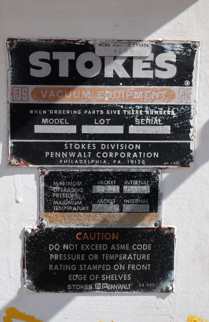 Dryer Stokes vacuum shelf dryer model 338-4, Stainless Steel2