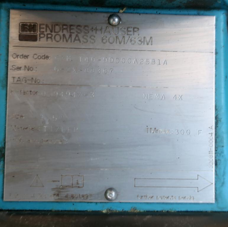 Valve 1.5 Endress-Hauser model ProMass 63M liquid flow meter, Stainless Steel2