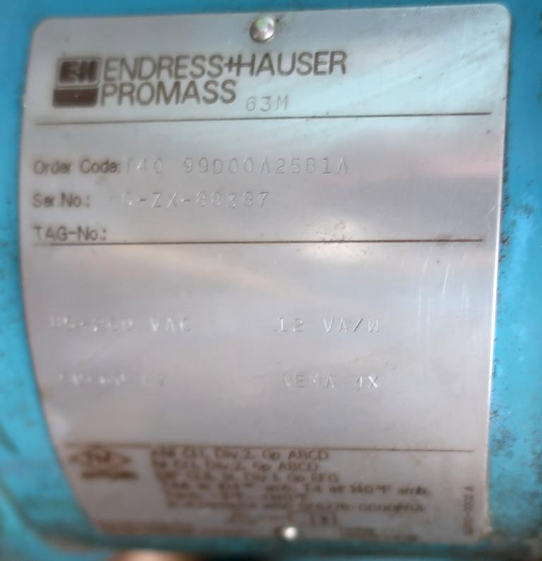 Valve 1.5 Endress-Hauser model ProMass 63M liquid flow meter, Stainless Steel3
