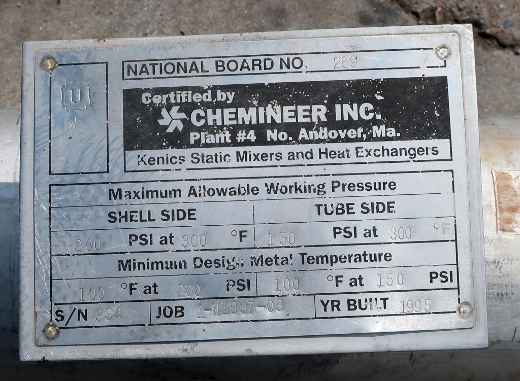 Heat Exchanger 54 sq.ft. Chemineer Inc. shell and tube heat exchanger, 200 PSI psi shell, 150 psi internal, Stainless Steel2