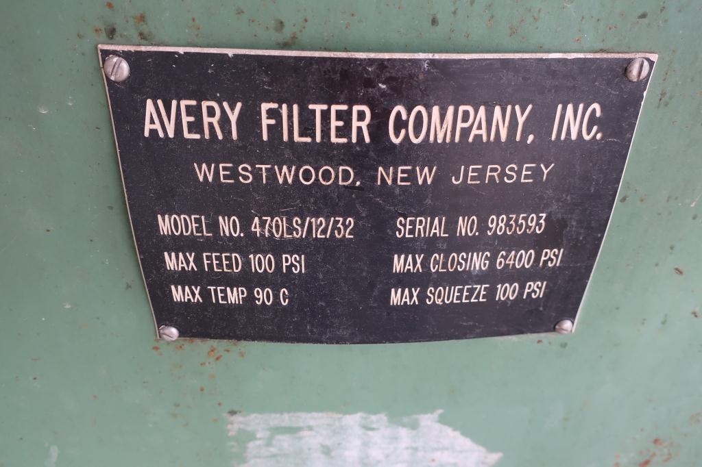Filtration Equipment 2 cu.ft. Avery Filter Co. recessed plate filter press model 470LS/12/32, poly5