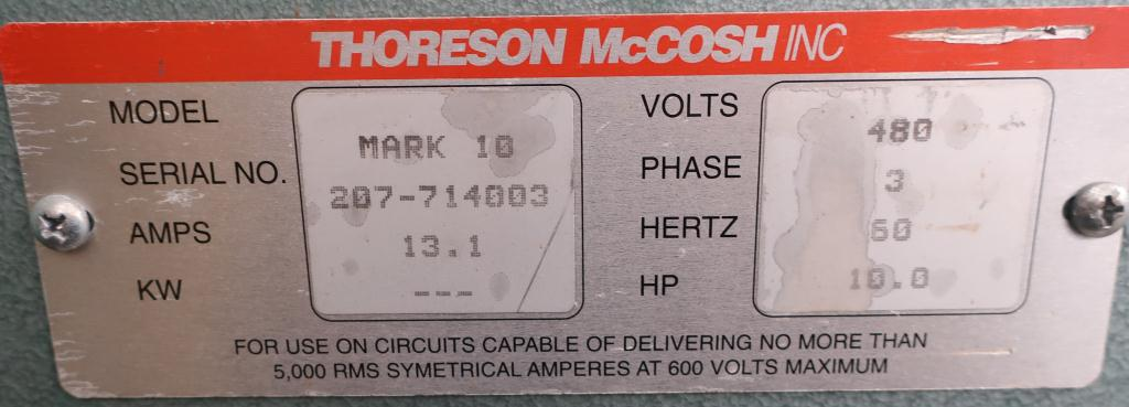 Blower 570 cfm, positive displacement blower Thoreson McCosh, 10 hp6