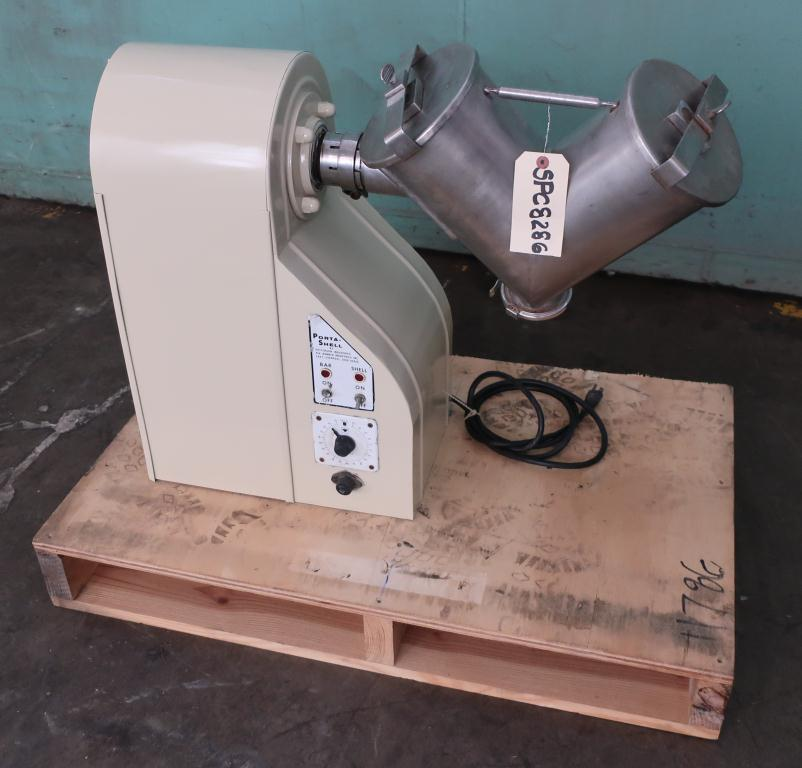 Mixer and Blender 0.233 cu. ft. capacity Patterson Industries USA twin shell V blender model Porta Shell, 1/2 hp, 316 SS1
