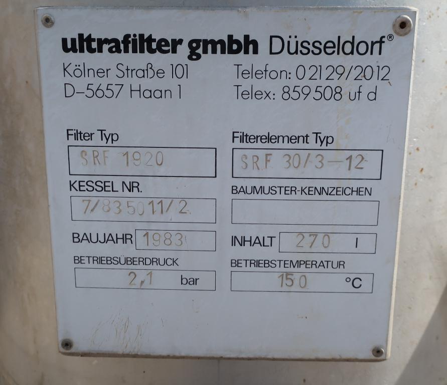 Filtration Equipment Ultrafilter gmbh cartridge filter model SRF 1920, Stainless Steel6
