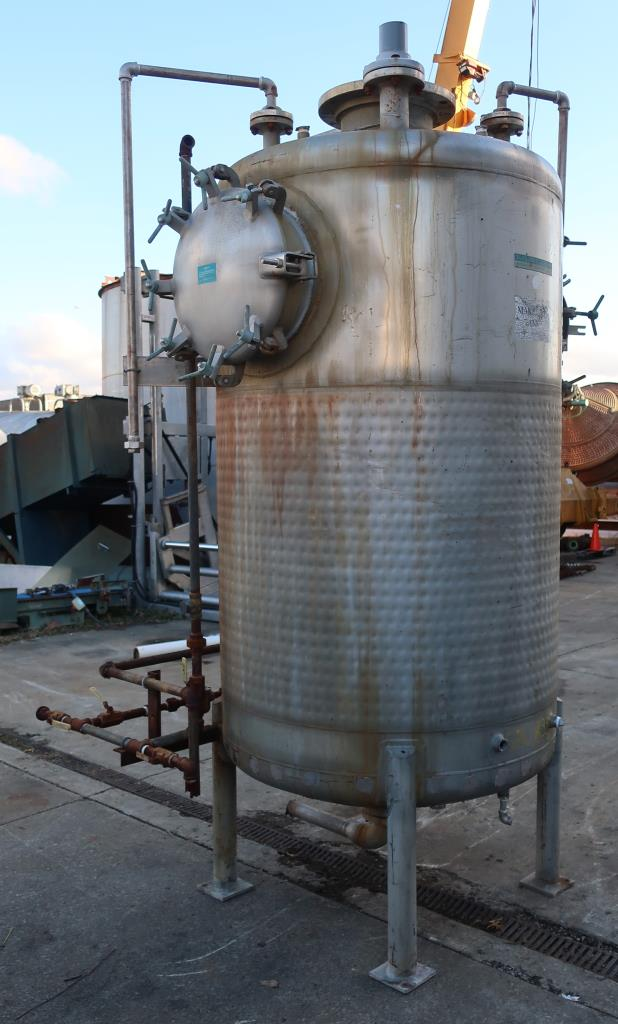 Tank 600 gallon vertical tank, Stainless Steel, low pressure dimple jacket, dish bottom3