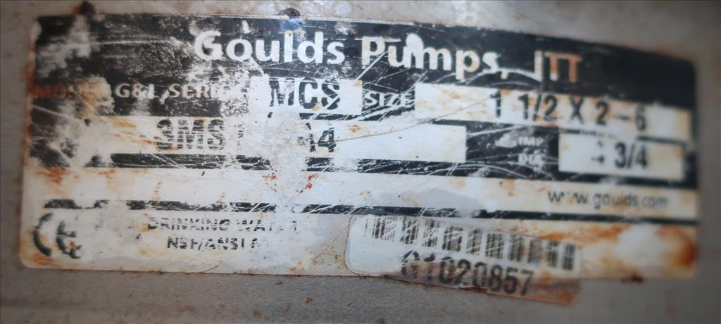 Pump 1-1/2x 2-6 Goulds centrifugal pump, 3 hp, Stainless Steel3