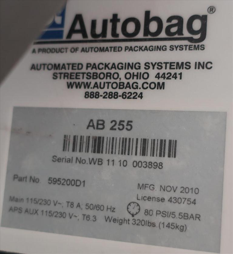 Bagger Autobag pre-formed bagger model AB 255, 4 to 16 wide x 5 to 27 long bags, Up to 55 bpm6