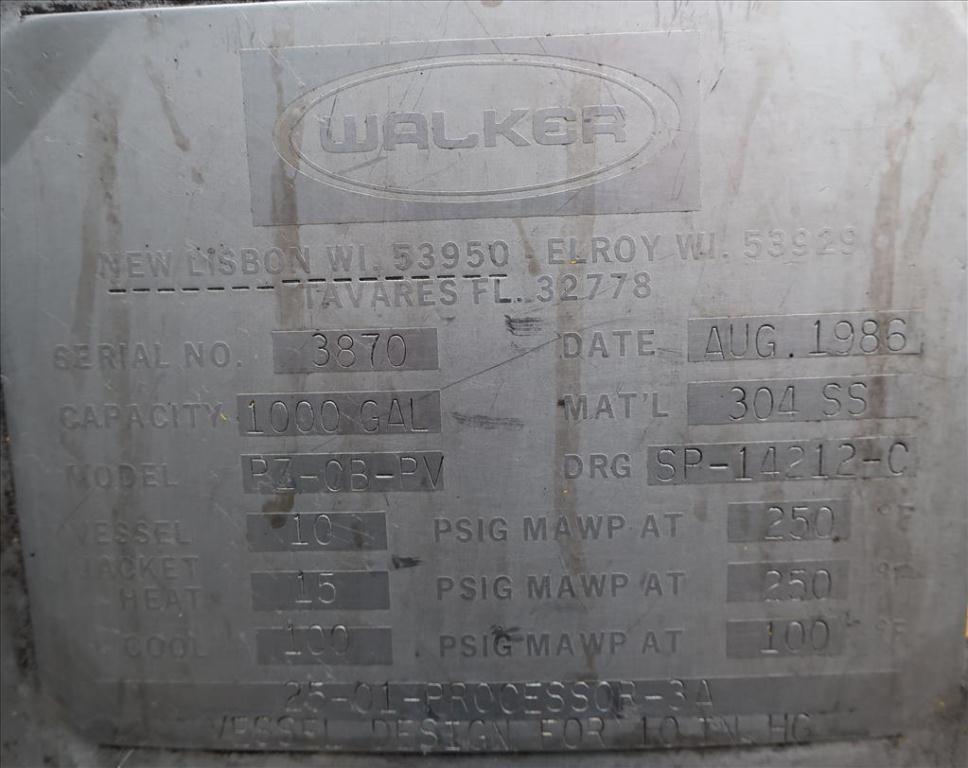 Kettle 1000 gallon Walker processor kettle, agitator Top mount, 15 psi jacket rating, Stainless Steel6