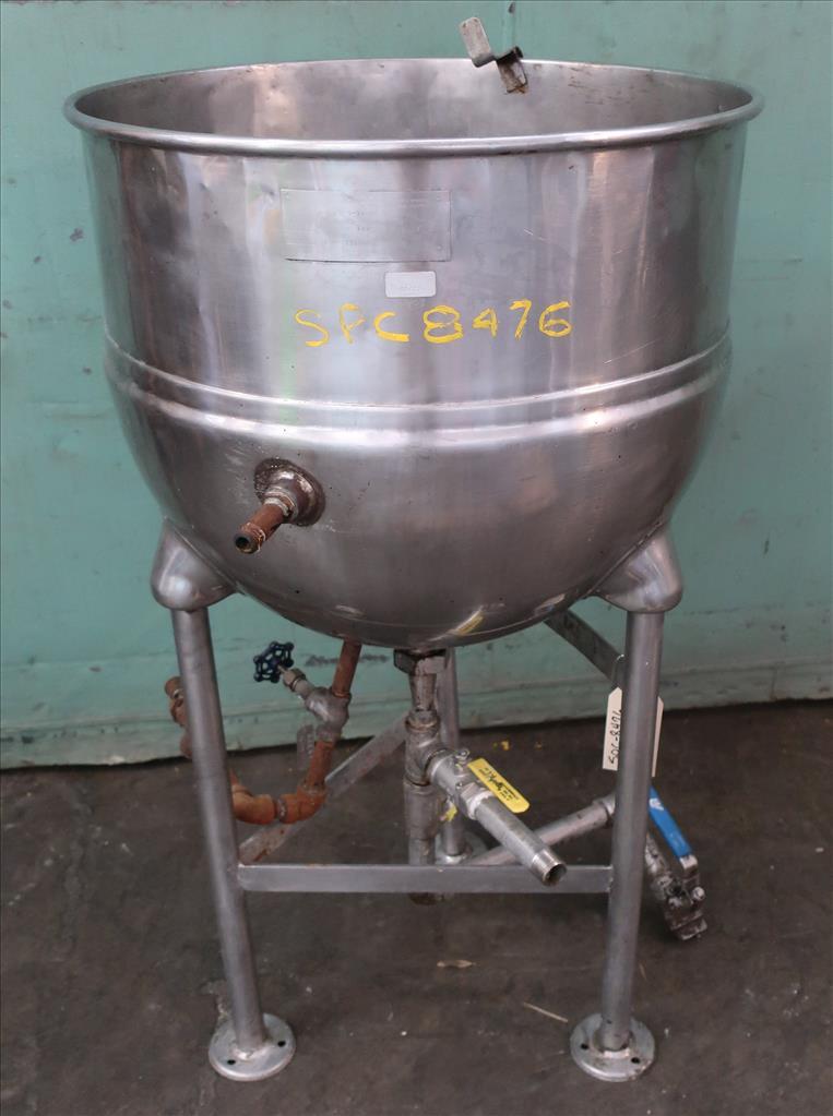 Kettle 30 gallon Groen hemispherical bottom kettle, 100 psi jacket rating, 316 SS1