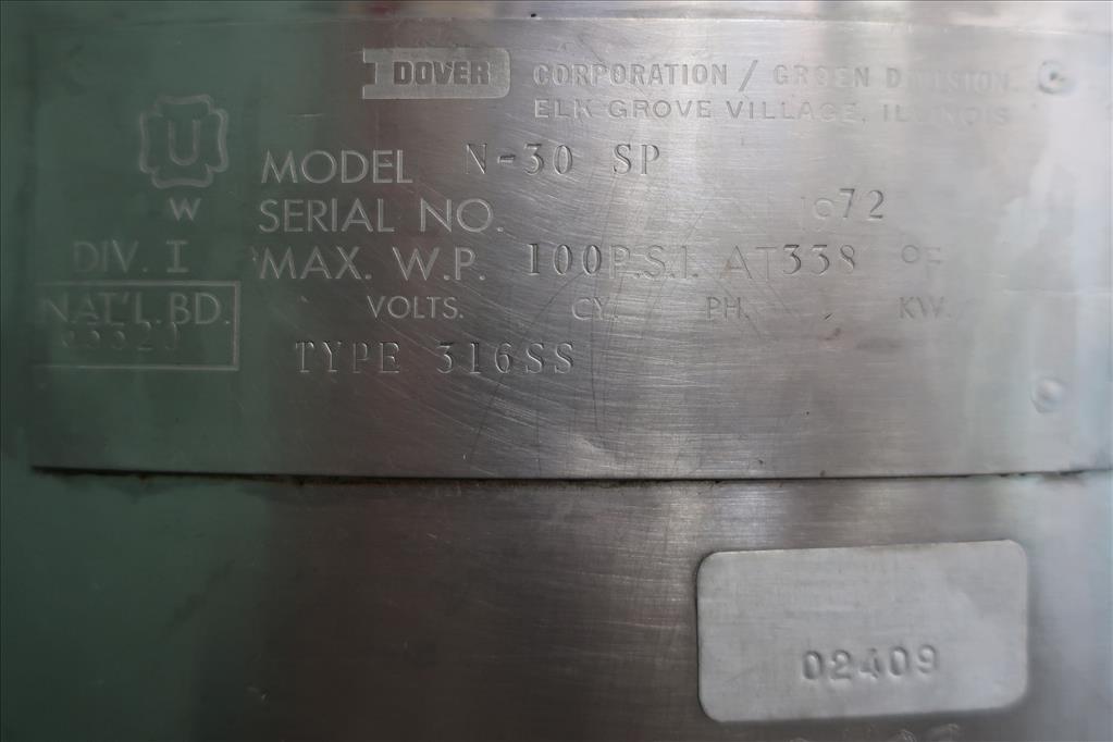 Kettle 30 gallon Groen hemispherical bottom kettle, 100 psi jacket rating, 316 SS6